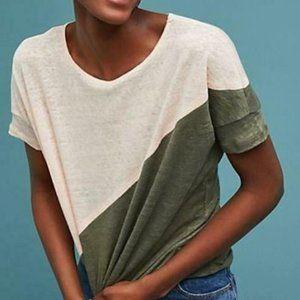 Anthro Bordeaux Color Block Linen Top Shirt